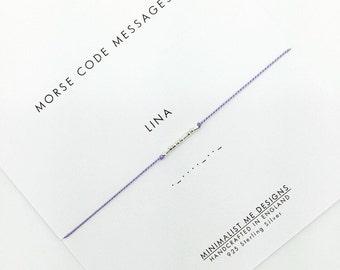 Custom morse code message silk bracelet. Perfect unique gift.