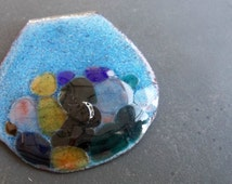 retro got the blues 2 torch enameled recycled copper pendant