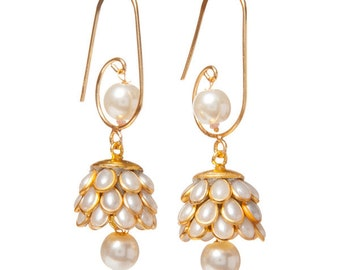 Artisan Made Floral Cluster Drop Paachi Earrings - White