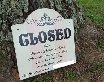 Open Sign, Closed Sign, Business Signs, Painted Business Signs, Chic Business Signs, Custom Business Signs, Salon Signs, Door Signs