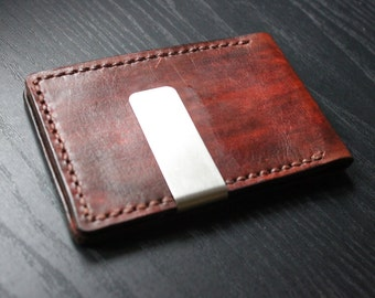 Mens Leather Wallet, Minimalist Wallet, Money Clip,Perfect gift for him,front pocket wallet, groomsmen gift,Birthday gift,Wallet  / VD 048