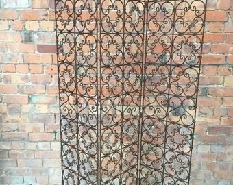 French Vintage Artisan Made Cast Iron Room Divider