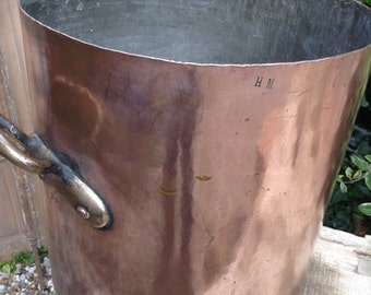 French Vintage Large Heavy Copper Stewpot