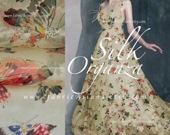 Butterflies Organza Silk Fabric. Wedding Fabric