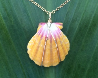 Pink and sunny yellow sunries shell necklace