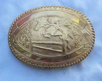 Vintage • Gold Colored Horse Riding Rider Belt Buckle | Crumrine brand | Made in USA