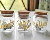 Set of 6 Wine Themed Wine Glass Charms in Customizable Jar