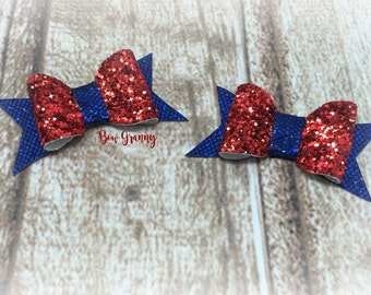 Red and Blue Glitter Bow, Red and Blue Bow, Red Glitter Bow, Fourth of July Bow, 4th of July Bow, Red and Blue Pigtail, Small Hair Bow,