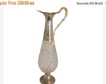 Take 25% Off Sale Beautiful Vintage Tall and Sleek Silver Plated Italian Crystal Decanter Featuring Beautiful Checkered Pattern & Ornately S