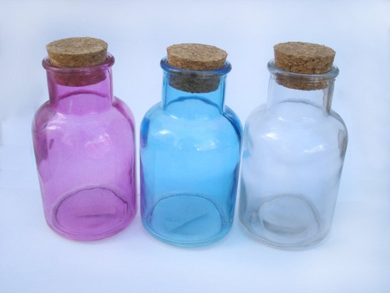 Set of 3 colored glass bottles with corks by shoptocreate for Colored glass bottles with corks