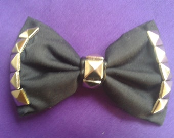 Punk Goth Black Bow Hair Clip With Studs And Leather Detail