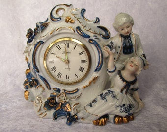 Collectible/Linden Victorian Genuine Porcelain alarm clock in cobalt blue, white and gold made in Japan