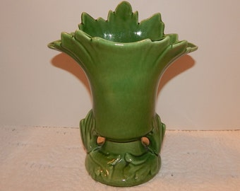 Vintage 1930's green leaf porcelain USA vase