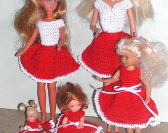 Crochet Fashion Doll Barbie & Sisters Pattern- #580 SISTERS FOR VALENTINE