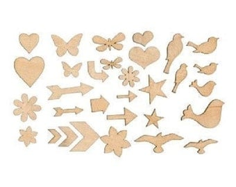 Color-Ready Trinkets Wooden Shapes Z1844