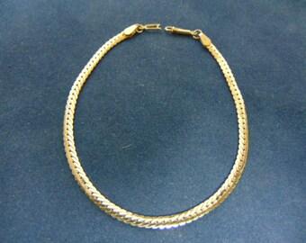 Womens Vintage Estate 14K Yellow Gold Herringbone Bracelet 3.9g E2400