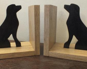 A Hand Made Pair Of Black Labrador Oak Bookends