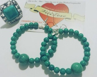 hoop earrings with turquoise stones