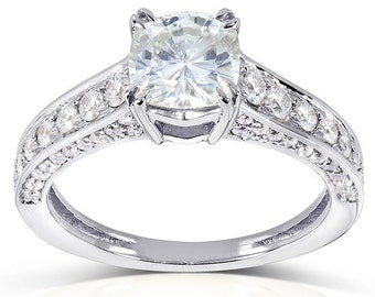 Forever One Cushion Moissanite and Diamond Engagement Ring 1 5/8 CTW in 14k White Gold