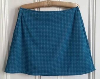 Handmade 60s Modette style A-line mini skirt. Green & Pink