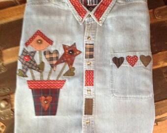 Country Denim Flowerpot Short Sleeve Women's Shirt