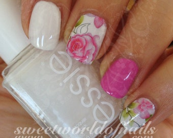Pink Flower Nail Art Nail Water Decals Transfers Wraps
