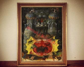 Hell print, Devil in Hell poster, demonic art, occult home decor, demonology, satanic art, Satan in Hell, sinners  #408