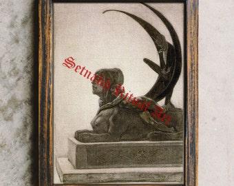 Sphinx print, Egyptian art, Demonic poster, Satan home decor, Satanic wallart #429