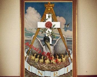 INRI Rosicrucian print, pelican poster, esoteric illustration, masonic print, occult illustration, occult poster, cross rose #197