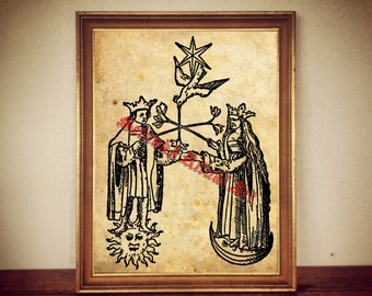 227# Alchemical print, sacred marriage, sun and moon, alchemical illustration, poster, occult print, magick, alchemy