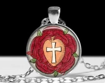 Rosicrucian rose pendant, cross necklace, occult jewelry, ritual lamen, magic talisman #257
