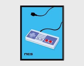 Japanese NES Gaming Controller Print Pop Art Illustration Poster [blue]