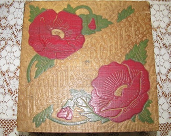 Vintage Handkerchief Box with two handkerchiefs included