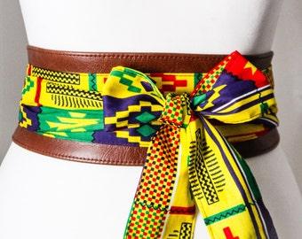 Brown Leather Bright Yellow African Print Obi Belt l Leather Ankara Corset Belt | Ankara Wax Print Belt | Waist Belt| Corset Belt