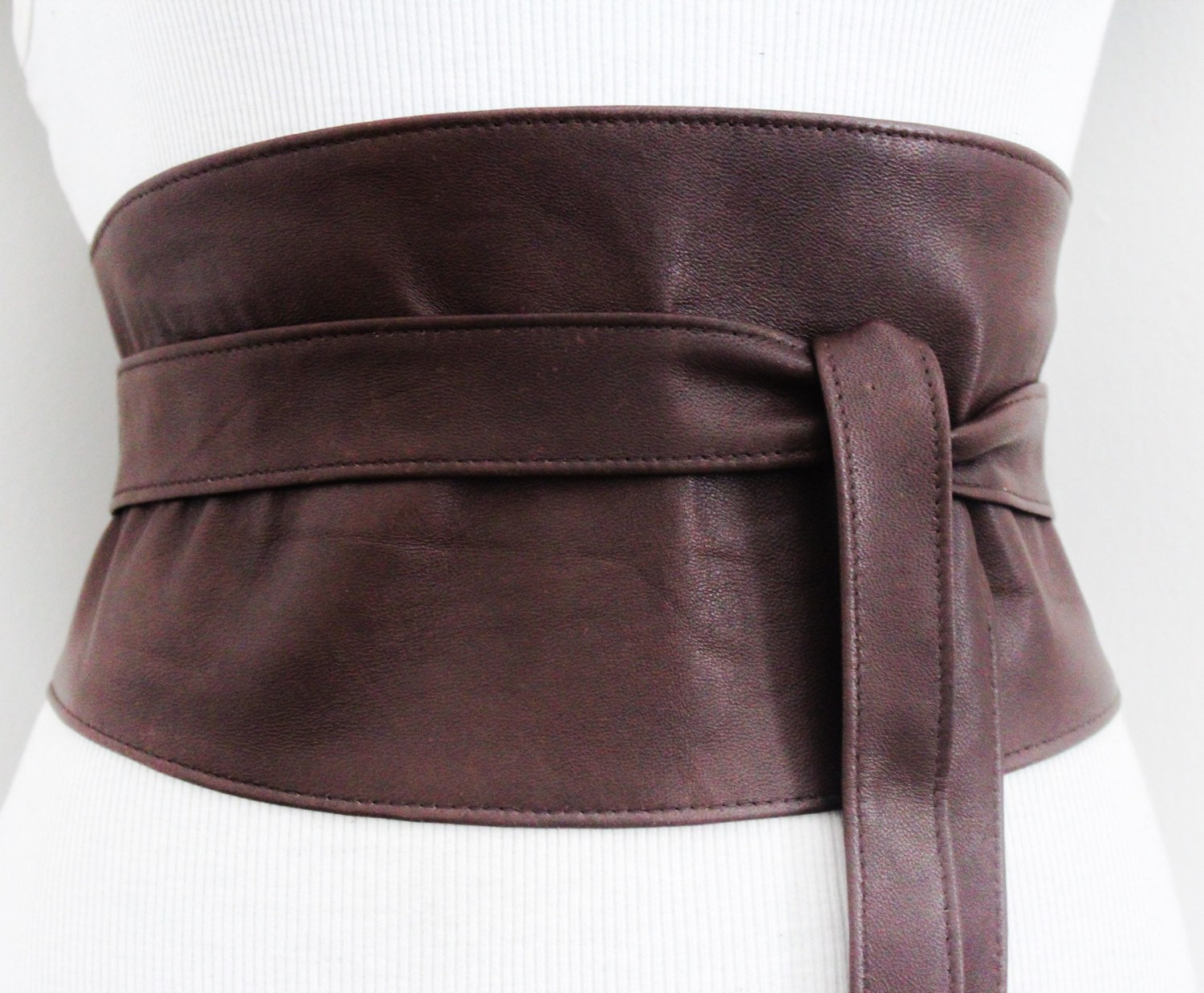 distressed brown leather obi wide corset belt waist corset