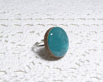 Wooden ring, natural wood ring, unique gift, wood jewelry, eco friendly ring, turquoise ring, wood gem (0333)