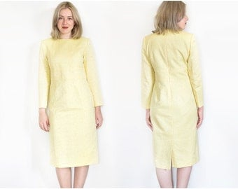 80s Yellow Mod Dress | Vintage Dress | Helena Corizzi Paris | Formal Dress | Wiggle Dress | Yellow Dress - Size 42
