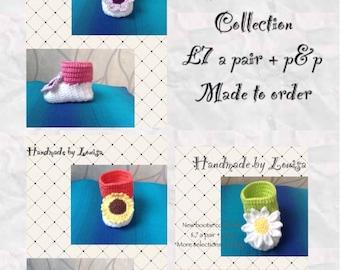 Flower crochet booties