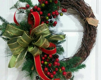 Christmas Rustic  Grapevine Berry Wreath-Berrry Wreath-Red and Green Christmas Wreath-Winter Wreath-Christmas Gift