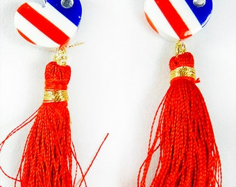 Earrings, 4th of July, Independence Day, Flag Day, Memorial Day, patriotic earrings, red white blue, patriotic jewelry, red tassle