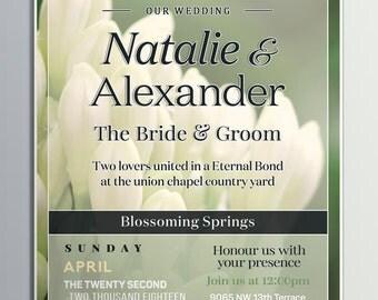 Printable Wedding Invitation, Custom Wedding Invitation, Made to Order Wedding Invitation, Green Wedding Invitation, Wedding Invitations