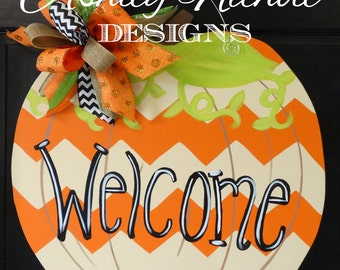 Chevron (Tan/Orange) Pumpkin Door Hanger, Door Decoration, Whimsical Pumpkin, Fall Decor, Fall Wreath, Wooden Pumpkin
