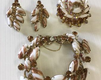 Vintage Julianna? Unmarked Copper Fluss Rhinestone Bracelet Earring Brooch Set