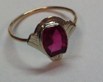 Vintage Art Deco 10k White and Yellow Gold Simulated Ruby Ring