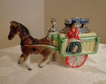 Courting Porcelain Lighter, Courting Horse and Carriage Lighter, Figurine Lighter, Hand Painted Porcelain Lighter