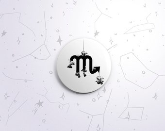 Scorpio zodiac one-inch pinback button badge - small pin