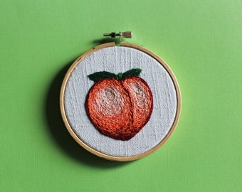 "Peach Emoji Hand Embroidered, 4"" hoop"