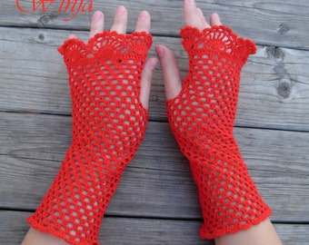Crochet cotton fingerless gloves, knitted lace red mittens, knitted red gloves, arm warmers, boho knit gloves, lace gloves, crochet mittens