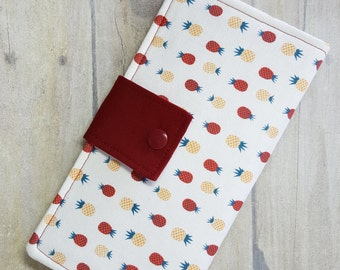 Pineapple print womens wallet, handmade fabric wallet, bifold wallet, cash wallet, credit card wallet, checkbook wallet, women's gift idea