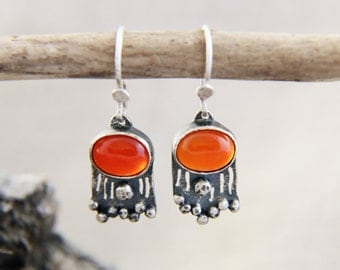 Carnelian Earrings, Red Earrings, Carnelian Silver Earrings, Silver Carnelian Dangle Earrings